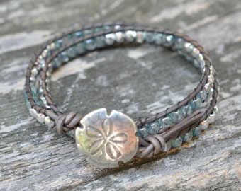 Blue Green and Silver Beaded Leather Double Wrap Bracelet - Metal Sand Dollar Button- Beaded Wrap Leather Wrap