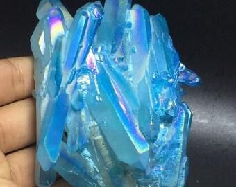 0.65LB Light Blue Aura Titanium Bismuth Quartz Crystal Cluster