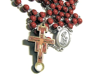 Pope Francis Rosary, Catholic Rosary, San Damiano Crucifix With Third Class St Francis Relic At Bottom