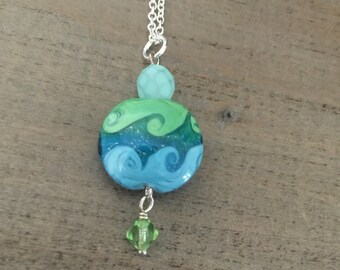 Wave Lampwork Necklace, Ocean Wave, Ocean Sea Life Jewelry, Elements, Sterling Chain