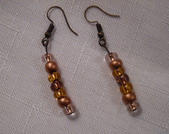 Matching Earrings for Triple-Strand Copper and Brass Necklace with Tree Pendant (1230)