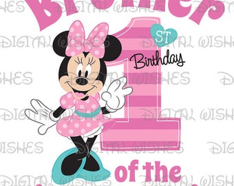 Minnie Mouse 1st Birthday stripes hearts Brother of the Birthday Girl Digital Iron on transfer image clip art INSTANT DOWNLOAD DIY for Shirt