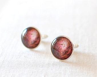 Lagoon Nebula Cufflinks. Space Cufflinks. Wedding Accessory. Galaxy Jewelry. Celestial Cufflinks