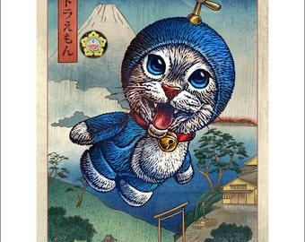 Time Traveller- Doraemon cat character- 11 x 14 print