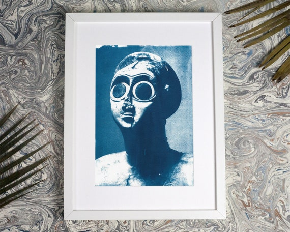 Sumerian Hollistic Sculpture, Cyanotype Print on Watercolor Paper, A4 size (Limited Edition)
