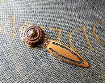 Bookmark / Button Bookmark / Vintage Button Bookmark / Antique Brass Button / Estate Button