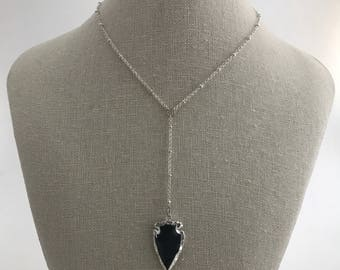 NEW - Silver spacer chain with black arrowhead