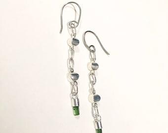 Green Tourmaline Crystal chain earrings