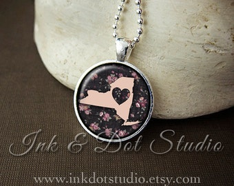 Floral New York State Necklace, New York Love Pendant, Pink New York State Pendant, New York Gift, NY State