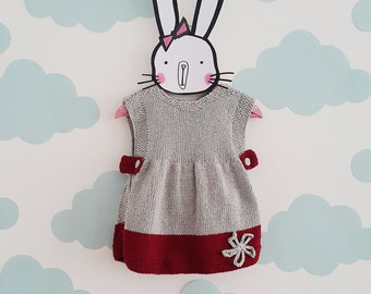 hand knit baby dress, knitted baby wool dress, toddlers fashion, stylish baby girl dress, birthday girl gift ideas, age 6 to 24 months