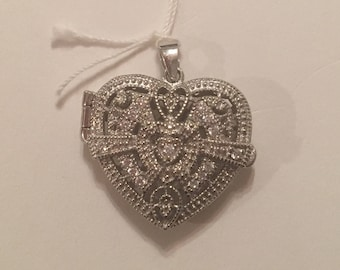 Vintage Sterling Silver Heart CZ Locket Pendant for a Necklace