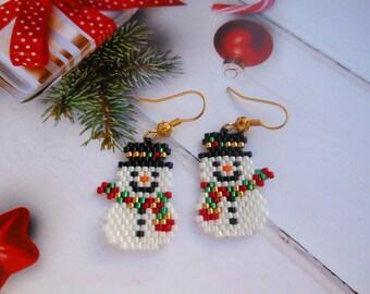 Snowman earrings Christmas earrings Winter earrings Snowman Jewelry Holiday Earrings Christmas bead earrings  Christmas gift for her