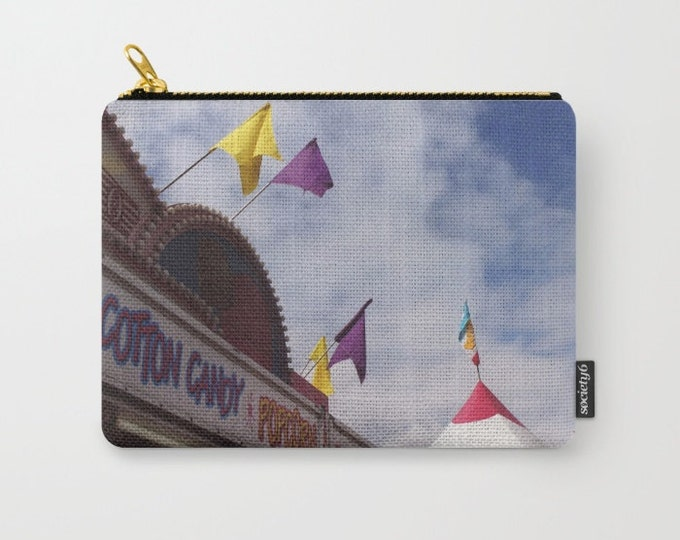 Carnival Carry All Pouch - Cotton Candy Stand - Make-up Bag- Pouch- Toiletry Bag - Change Purse - Organizing Bag - Made to Order