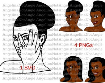 Engaged Clip Art PNG, Engagement Ring SVG, Bethany Betrothed African American Bride, Fiancee, Feyonce Afro Puff Relaxed Perm Hair Woman Lady