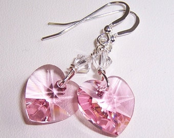 Pink Swarovski Crystal Heart Sterling Silver Earrings