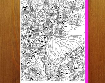 Bats and Fruit! - Color Your Own Greeting Card - Adult Coloring Card