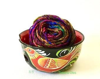 Yarn Bowl ,Ceramic yarn bowl , birds , flower  ,knit ,crochet,functional ,decorative