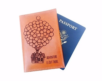 Adventure IS OUT THERE, Passport Cover Personalized, Balloons, Travel Gift, Quote, Passport Case, Fine Leather, Bestie Gift, Christmas