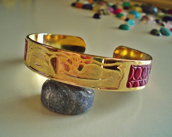 Vintage 80's Heart and Sword Gold Tone Purple Faux Reptile Skin Rocker Cuff Bracelet