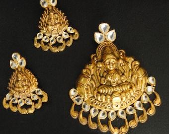 22K Gold Temple Goddess Jewelry. Solid Gold Laxmi Pendant Set. Indian Traditional Goddess Lakshmi & Elephant South Indian Jewelry Set