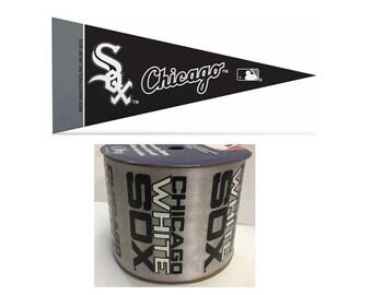 "2.5"" MLB Chicago Weiß Sox Band, 9 Füße & Mini Wimpel, lizenziert MLB Offray Band"