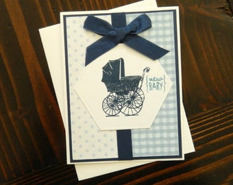 Handmade Hand Stamped Baby Carriage Card, Baby Boy Card