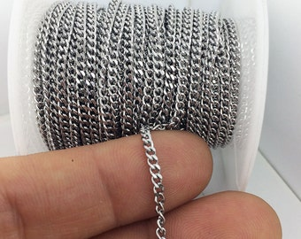 20/50Meters Stainless Steel Flat Curb Link Chain 2x3mm 0.55mm Thick Welded Link