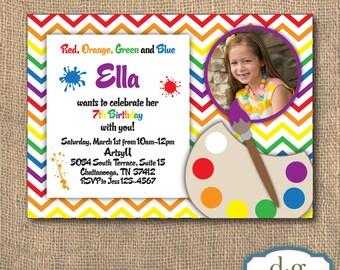 Birthday Invitation, Art Party, Art Birthday Invitation, Painting Party, 5x7, PRINTABLE