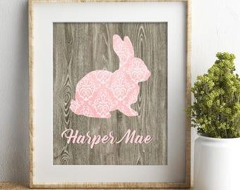 Pink gray nursery decor baby girl nursery wall art personalized baby bunny print woodland nursery baby shower gift girl room decor