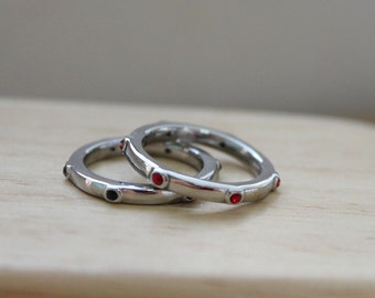 Stack Rings, All Around Crystal Mini Ring, Stainless Steel 316L, Wear it individual or stack with other ring designs!