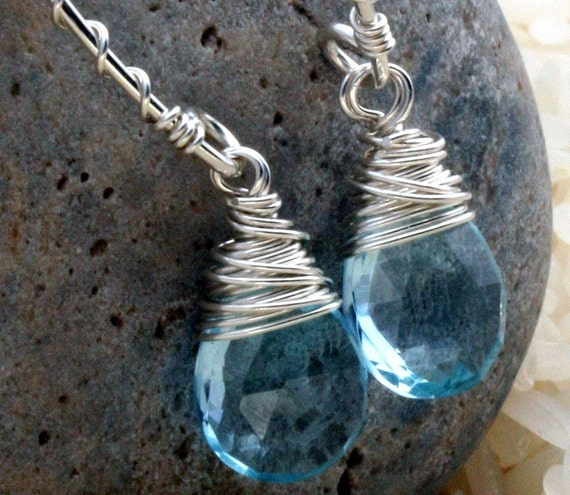 Blue Topaz Earrings -  Blue Topaz and Sterling Silver Earrings - Blue Topaz Briolette Earrings