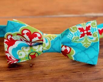SALE Save 20% - Boys Bow Tie - boy's blue Moroccan floral print cotton bowtie | child boy bow tie | pre-tied bow tie | boyswear