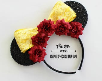 Belle Beauty and the Beast Themed Mouse Ears Headband ~ Red Roses and Yellow Sparkle Bow