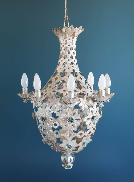 Beautiful montgolfier chandelier silver tin and glass beads aloadofball Choice Image