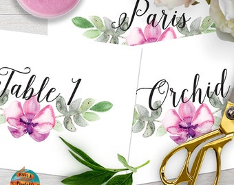 Wedding table numbers/names, vintage style with orchids decoration, printable, customizable