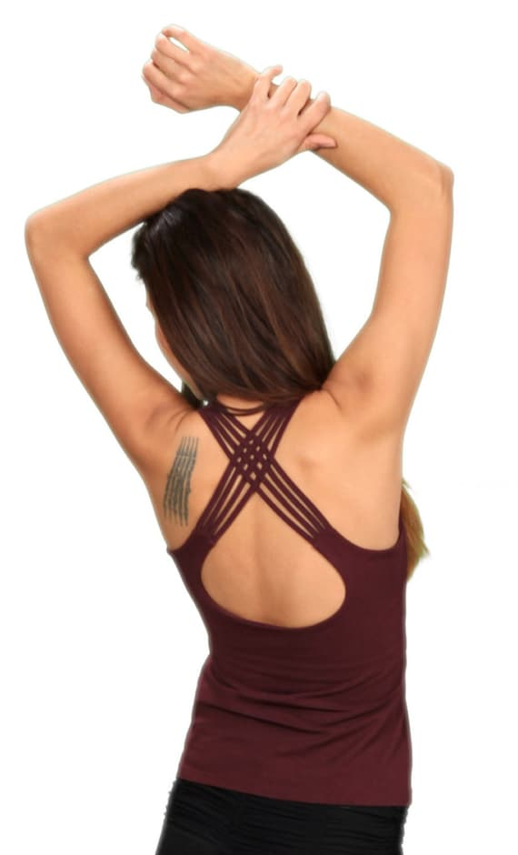Spring Sale! Faith Strappy Yoga Tank Top with Built in Bra Womens Fashion Boho Chic Festival Wear Wholesale Womens Clothing
