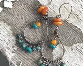 Chunky Baltic Amber, Hubei turquoise and sterling silver drop earrings