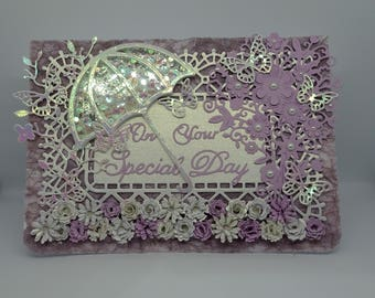 Unique Handmade Wedding Card, On your Special Day, Lilac Pink Pearlescent Parasol and Butterflies, Floral Wedding Card, Congratulations Card