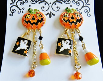 Never Worn/ Lunch At The Ritz Halloween Jack-O-Lantern Ghost Post Earrings  (#14)