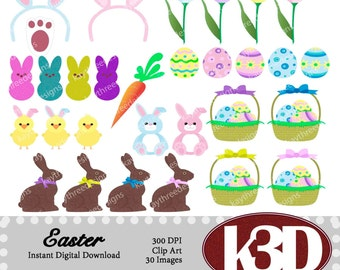 Easter, easter bunny, chocolate bunny, peeps, easter basket, clipart clip art instant digital download. 30 digital images, graphics