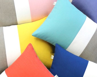 Summer Colorblock Pillow Covers, Modern Decorative Pillows (Coral, Yellow, Mint, Cobalt, Serenity, or Pastel Pink) by Jillian Rene Decor