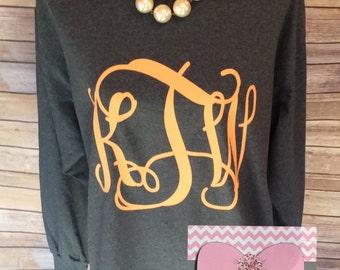 Monogram T-Shirt Oversized Monogram Long Sleeve TShirt Preppy Monogram Tee Monogrammed T Shirt Monogrammed Gifts Perfect for Bridesmaid