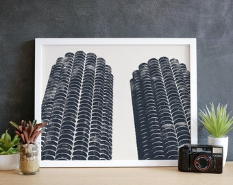 Marina City Chicago Print and Canvas Wrap, Chicago Canvas Art, Chicago Wall Art, Chicago Art Print, Chicago Illinois,