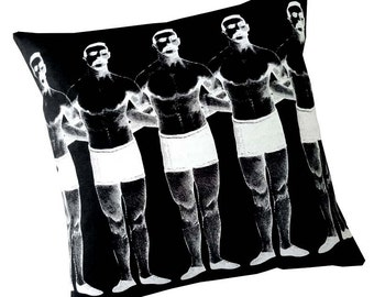 Man Chain silk screened cotton canvas throw pillow 18 inch white on black