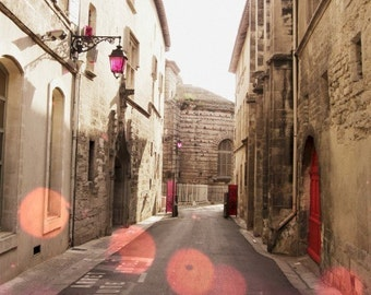 """France Travel Photography - French Town Street - Coral Pink Brown - Architecture Wall Art - Provence France  """"Where Shall We Go"""""""