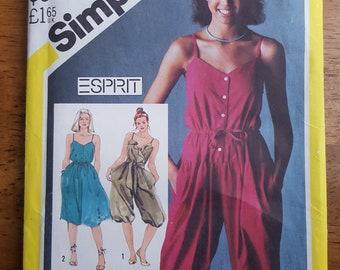 Vintage Simplicity 5590 ESPRIT Jumpsuit and Sundress Sewing Pattern Misses' Size 8