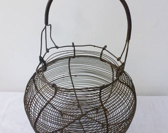Vintage egg basket, classic French wire basket, rustic farmhouse kitchen, shabby chic
