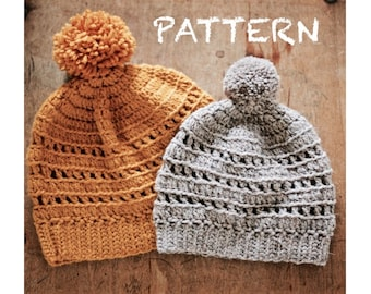 PATTERN Ribbed Crochet Beanie in 4 Sizes | Adult Slouchy & Fitted, Child, Baby Winter Hat | Toque | Photo Tutorial | Winter Hat Pattern