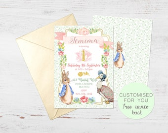 Peter Rabbit Jemima Duck Invite | Birthday Party Invitation | FREE BACK | Personalised Digital Download | Printable | Floral Woodland