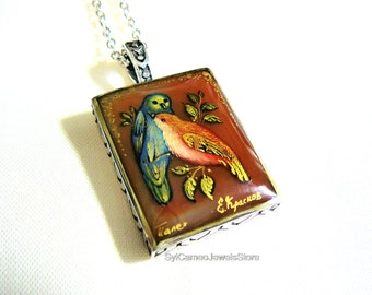 """A """"Two"""" Birds Cameo Hand Painted Pendant Sterling Silver Necklace Art Jewelry SylCameoJewelsStore"""